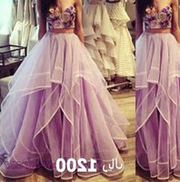 2016 Pageant Dresses Sexy Two Pieces Prom Dresses Embroidery Design with Ruffled Tulle Skirt Evening Dresses