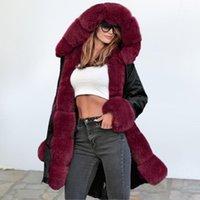 Kürk Kış Ceket Kadın Tasarımcı Retro Kapşonlu Kadın Ceket Dış Giyim Moda Vintage Sıcak Uzun Kadın Parka Jaqueta Feminina DR11841