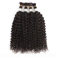 4pcs 머리 벌크 자연 색 직선 제리 곱슬 인도 인도 인간의 머리카락 빗질 곱슬 머리 대량
