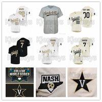 Vanderbilt commodores jerseys 20 19 cws personalizado qualquer nome número branco ouro preto costurado # 51 jj bleday stephen scott ncaa jersey