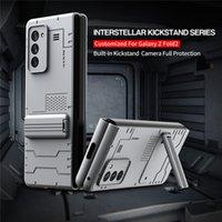Kamera Tam Koruma Sert PC Zırh Katlanır Telefon Kılıfı Samsung Galaxy Z Katlama 2 W21 ZFOLD 5G ile Kickstand Darbeye Kapak