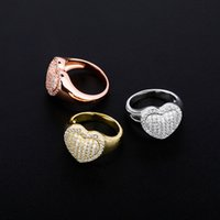 Hip Hop Girl Rings Fashion Women 18K Gold Rhodium Plated Love Heart Cluster Rings Luxury Bling Zircon Designer Rings