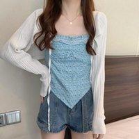 Women's Tanks & Camis Sling Irregular Floral Hanging Neck Camisole Inner Summer Slim Outer Wear Short Jacket