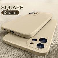 Casos de silicone líquidos quadrados originais de luxo quadrado com logotipo para iPhone 12 11 pro máximo mini x xs 7 8 6s plus se estojo macio à prova de choque