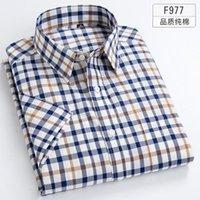 Men's Casual Shirts 32 Pure Cotton Oversized Button Up Shirt Plaid Mens Short Sleeve Slim Fit Men Korean Clothes Streetwear G77