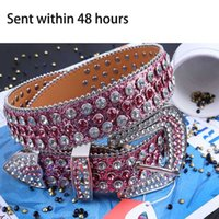 Belts Pink Rhinestones Belt Western Cowboy PU Leather Girl Diamond Studded Cinturones Para Mujer De Lujo Diseñador
