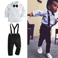 Kids Children's Boys Black Bow Tie Suit Suspender Black Pants and White Shirt 2 Piece Clothing Set Formal Dress Banquet Gentle Back to School Party Clothes L729R5T