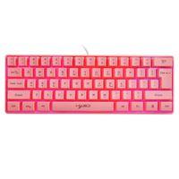 Pembe Oyun Klavye V700 61 Tuşlar RGB Arka Işık USB Masaüstü Dizüstü PC Gamer Klavyeler Için Multimedya Ile Kablolu