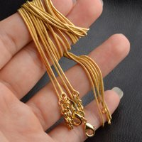 Plated 1MM Snake Chain Necklaces Unisex Necklace 16 18 20 22 24 Inch DIY Statement Jewelry for Women Men Christmas Gift DFF4995