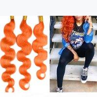 Dunkle Wurzeln Ombre Orange Menschliche Haarverlängerungen 3 Bundles Ombre 1b 350 Orange Menschliches Haar Zwei Ton Körper Wellen Haar Schuss