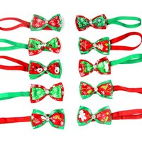 Christmas Holiday Pet Cat Dog Collar Bow Tie Adjustable Neck Strap Cat Dog Grooming Accessories Pet Decoration Cat Dog Supplies DHL