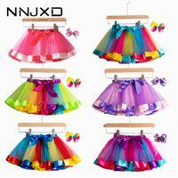 Tutu Falda Baby Girl Ropa 12m-8yrs Colorido Mini Pettiskirt Girls Party Dance Rainbow Tulle Faldas Ropa para niños