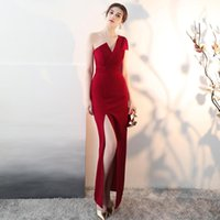 Women's One Shoulder Evening Dress Long High Split Formal Party Gown Wine Red Elegant Women For Wedding Qipao Ethnic Clothing