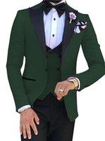Handsome Groomsmen One Button Groom Tuxedos Peak Lapel Men Suits Wedding Prom Dinner Man Blazer (Jacket+Pants+Tie+Vest) w583
