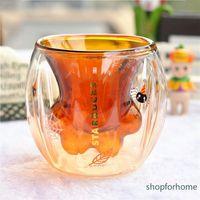 Halloween Starbucks Pumpkin Orange Cat Claw mug 6oz Amber double Borosilicate glass milk coffee cup
