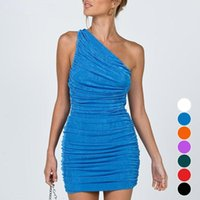 Casual Dresses Sexy One Shoulder Mini For Women 2021 Summer Sleeveless Ruched Bodycon Dress Blue Orange Red Party Short White