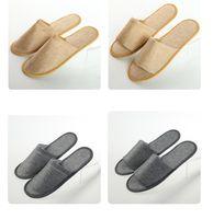 일회용 슬리퍼 린넨 일회용 슬리퍼 호텔 스파 홈 게스트 신발 옐로우 그레이 편안한 통기성 부드러운 안티 슬립 코튼 XTL95
