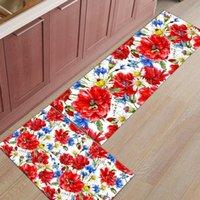 빨간 양귀비 데이지 꽃 주방 러그 홈 입구 Doormat 침실 바닥 장식 카펫 욕실 안티 슬립 카펫