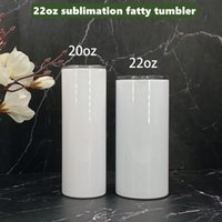 22 oz Sublimation Straight Fatty Tumbler Seam Stainless Steel tumblers Cup with matal straw lids Double Wall Insulated Coffee Mugs straights body A11