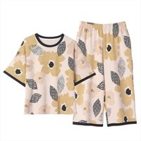 Pliktea Summer Pijamas más tamaño MUJER Sleepwear Home Ropa Trajes con Shorts Lounge Desgaste Impreso Algodón Pijama Set
