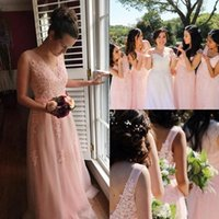 2021 Blush Lace Bridesmaid Dresses A Line V Neck Sleeveless Zip Back Appliqued Floor Length Tulle Maid Of Honor Gowns Plus Size Lady Wedding Party Guest Dress