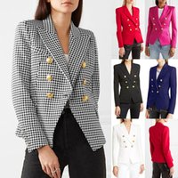 Womens Double Breasted Fashion Houndstooth Blazers Solid Tops New Arrival Female Slim Fit Jackets Blazers Tops