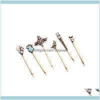 Barriettes Jewelry Headems6pcs Ретро GEM-CLEDDED Свежие цветы Женщины Дамы для волос Сочетание Hairpin Соответствующее Hearghness Европейская и американская Мода Ювелирные Изделия HA