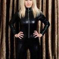 Мужчины черные передние ZIP виниловые кожаные комбинезоны оригинальные костюмы блестящие женщины Catsuits дизайнер роскошь