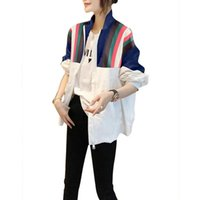 Women's Jackets Summer Casual White Thin Loose Stitching Sunscreen Stand Collar Jacket Europe High Quality Female Coat