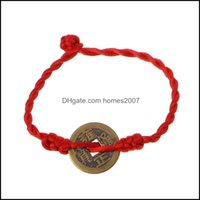 Tennis Jewelrytennis Chinese Feng Shui Wealth Lucky Copper Coin Pendant Red String Bracelets Drop Delivery 2021 Qnw87