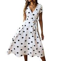Vintage Polka Dots Midi A-Line Dress Women Clothes Sexy V-Neck Vacation Beach Summer Dresses Short Sleeve Sashes Sundress