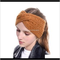 Headbands Jewelry Jewelrywinter Warmer Ear Knitted Headband Turban For Lady Women Crochet Bow Wide Stretch Solid Hairband Headwrap Hair Aesso