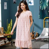 Summer Small Floral Night Dress Womens Sleepwears Nightgown Plus Size 3XL Sleepshirts Short sleeves Nightie Nightdress Cotton Sleepwear