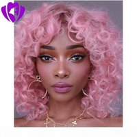 New style bob style loose curly Synthetic Lace Front Wigs pink Bouncy Heat Resistant Synthetic short curly wig for women