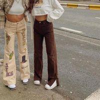 Femme Y2K Brown Pantalon Harajuku e Girl Vêtements 90s 2000s Esthétique Printemps Été 2021 Femmes Fashion Taille haute Vintage Capris pour femmes