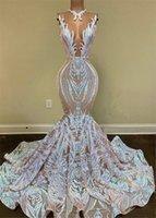 Lång Shiny Mermaid Lace Evening Dresses 2021 Kvinnor Formell Promoklök Klänning Vestidos de Fiesta