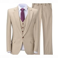 Classy Beige Wedding Tuxedos Suits Slim Fit Bridegroom For Men 3 Pieces Groomsmen Formal Business Outfits Party (Jacket+Vest+Pants)