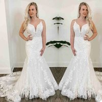 Elegant Lace Mermaid Wedding Dress Spaghetti Neck Appliques Bridal Gowns robes de mariée Plus Size Bride Dresses