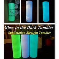 7 colors DIY sublimation STRAIGHT tumblers 20oz glow in the dark tumbler with Luminous paint Luminescent magic skinny mug