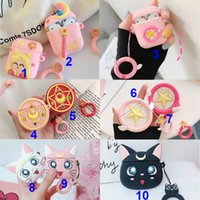 For Airpods 2 1 Case Anime Cute Cartoon Sailor Moon Earphone Cases Soft Silicone Apple Airpod Pro Cover Finger Ring Strap Funda Conque