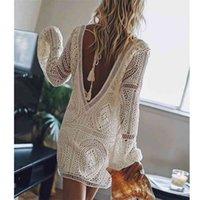 Ayualin Seksi Backless Plaj Yüzme Kapak Yazartılı Yaz Elbiseler Beyaz Dantel Elbise Kadın Tunik Robe Vintage V Yaka Boho Vestidos Artı Boyutu 210806