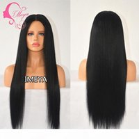 cheap Black Silky Straight Long Wigs Full Lace Wigs Heat Resistant Glueless Synthetic Lace Front Wigs Baby Hair Africa American Wig FZP88