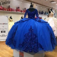 2021 vestidos de xv años Royal Blue Sequins Quinceanera Dresses Long Sleeves Corset Sequined Ball Gown Sweet 16 Dress
