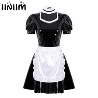 Womens Adults French Maid Cosplay Costume Sexy Female Clubwear Halloween Puff Sleeve A-Line Leather Dress with Apron Headband 210616