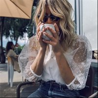 Mesh Sheer Sehen Sie durch Womens Hemden Langarm Top Mode Pearl Button Transparent Weiß Weibliche Blusas