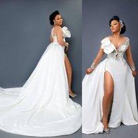 2021 Vintage Mermaid Lace Crystal Wedding Dresses Bridal Gowns Arabic Aso Ebi Long Sleeves Illusion Neck High Side Split Detachable Train Overskirts Satin Beads