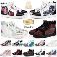 상자 포함 2021 레드 하의 스니커즈 캐주얼 신발 남성 여성 디자이너 가죽 스웨이드 스파이크 로퍼 패션 플랫 트레이너 SIZE 13