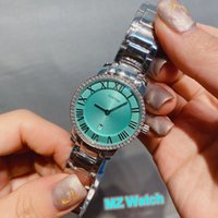 28mm Brand Quartz Clock Stainless Steel Roman Number dial Watch Blue Green Pink White Two Tone Rose Gold Plated