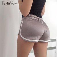 Faylisvow frauen shorts sommer sexy seide dünne strand lässig rand hohe taille elastische kurze mädchen glatte fitness booty frauen