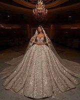 Luxury Lace Beading Ball Gowns Bröllopsklänningar Sparkly Flower Sequins Sweetheart Dubai Arabiska Skräddarsydda Bröllopsklänning Robes de Mariée